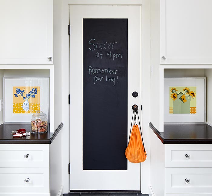 A schedule on a chalk door of a mudroom