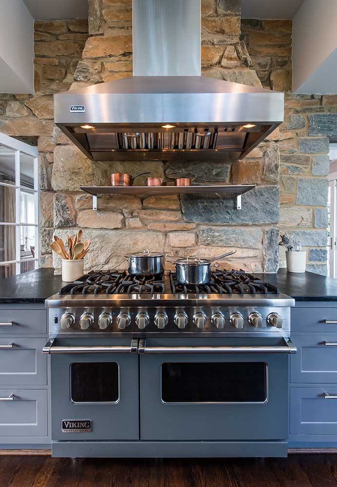 A huge range in a remodeled kitchen