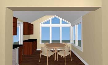 3d rendering of a complete breakfast room