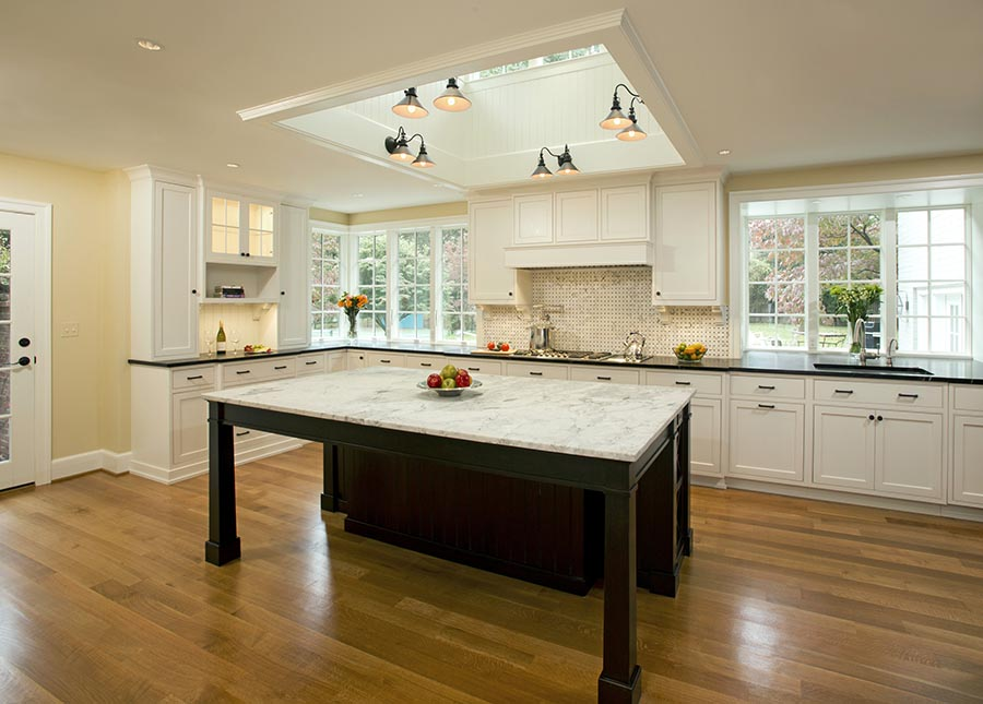 A large kitchen with a big island